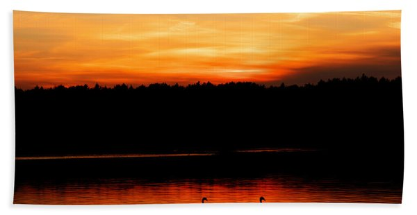 Swans In The Sunset Beach Towel