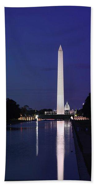 Washington Monument At Sunset Beach Towel