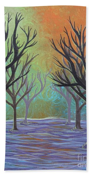 Beach Towel featuring the painting Winter Solitude 11 by Jacqueline Athmann