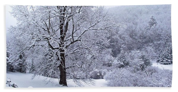 Winter Tree And Fence In The Valley Beach Sheet