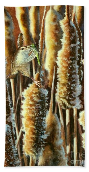 Wren And Cattails 2 Beach Towel
