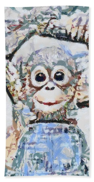 Monkey Rainbow Splattered Fragmented Blue Beach Sheet