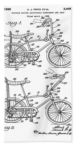 1968 Schwinn Stingray Patent In Black Beach Towel