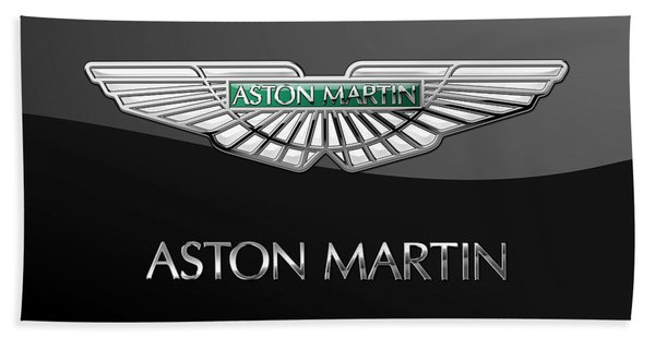 Aston Martin 3 D Badge On Black  Beach Towel