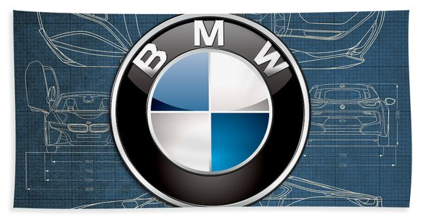 B M W 3 D Badge Over B M W I8 Blueprint  Beach Towel