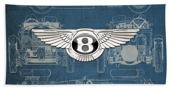 Bentley - 3 D Badge Over 1930 Bentley 4.5 Liter Blower Vintage Blueprint Beach Towel