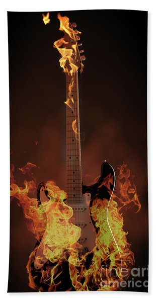 Burning Guitar Beach Towel