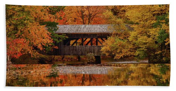 Beach Towel featuring the photograph Covered Bridge At Sturbridge Village by Jeff Folger