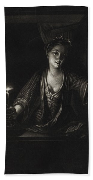 Girl With A Candle Beach Towel