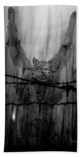 Gothic Guardian Bw Beach Towel