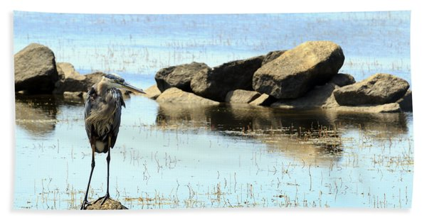 Heron On The Rocks Beach Towel