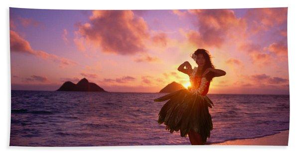 Hula At Sunrise Beach Towel