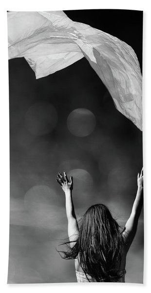 Into The Atmosphere - Black And White Beach Towel