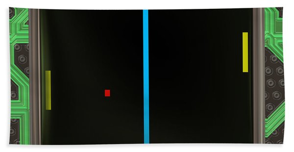 Lcd Screen With Retro Style Game Generated Texture Beach Towel