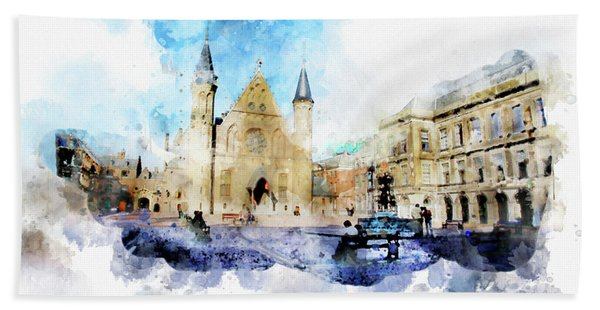Town Life In Watercolor Style Beach Towel