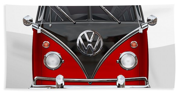 Volkswagen Type 2 - Red And Black Volkswagen T 1 Samba Bus On White  Beach Towel