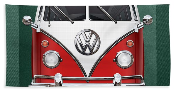 Volkswagen Type 2 - Red And White Volkswagen T 1 Samba Bus Over Green Canvas  Beach Towel