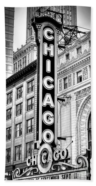 1077 Chicago Theater Black And White Beach Towel