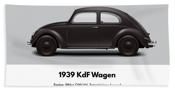 1939 Kdf Wagen - Black Beach Towel