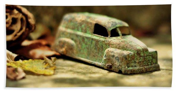 1940s Green Chevy Sedan Style Toy Car Beach Towel