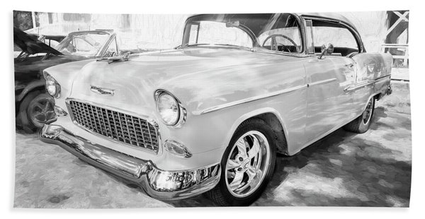 1955 Chevrolet Bel Air Bw 001 Beach Towel
