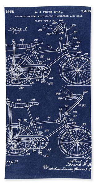 1968 Schwinn Stingray Patent In Blue Beach Towel