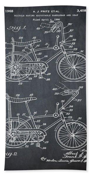 1968 Schwinn Stingray Patent In Chalk Beach Towel