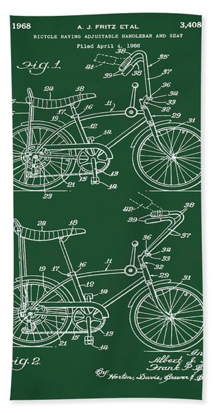 1968 Schwinn Stingray Patent In Green Beach Towel
