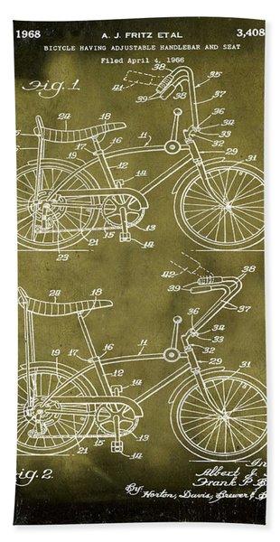 1968 Schwinn Stingray Patent In Grunge Beach Towel