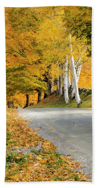 Beach Towel featuring the photograph Autumn Road by Tom Singleton