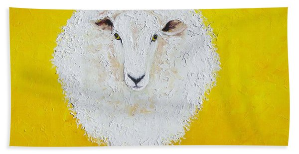 Sheep Painting On Yellow Background Beach Towel