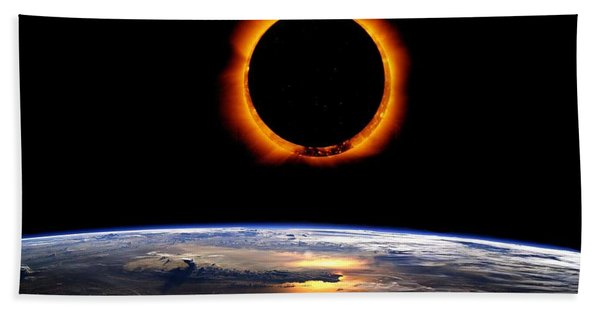 Solar Eclipse From Above The Earth Beach Towel