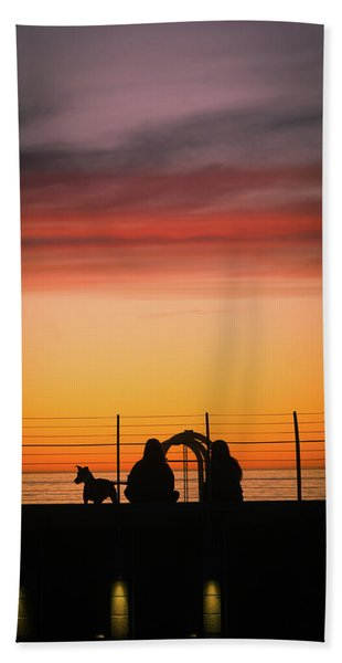 Beach Towel featuring the photograph 22nd St Sunset by Michael Hope