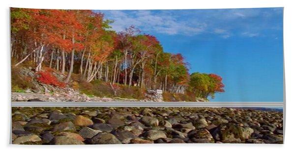Beautiful Fall Season Nature Renews Itself  Theme Green Trees Mountain N Sky View   Save The Environ Beach Towel