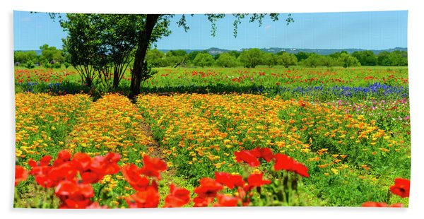 Hill Country In Bloom Beach Towel