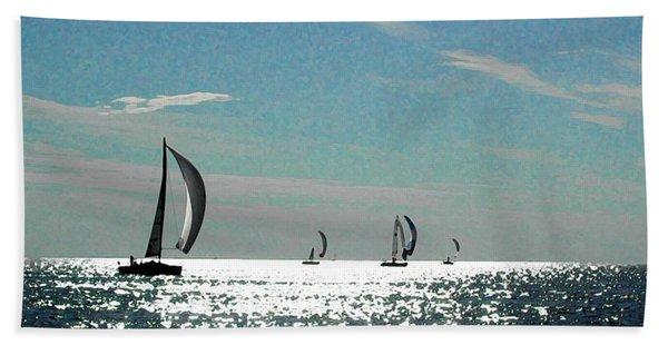 4 Boats On The Horizon Beach Towel