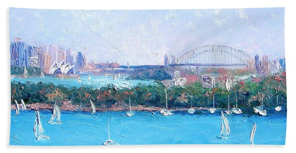 Sydney Harbour And The Opera House By Jan Matson Beach Towel