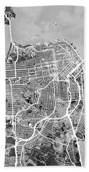 San Francisco City Street Map Beach Towel
