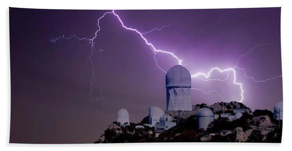 A Bolt Of Lightning Over An Observatory Beach Towel