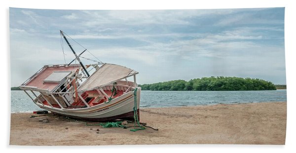 A Day Of Fishing Aground Beach Towel