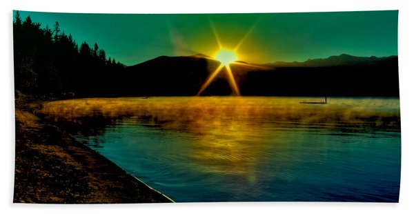 A Misty Sunrise On Priest Lake Beach Sheet