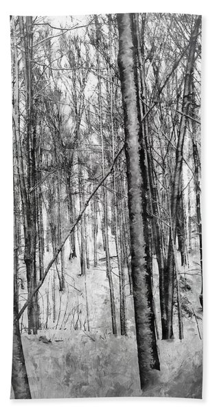 A Tree's View In Winter Beach Towel