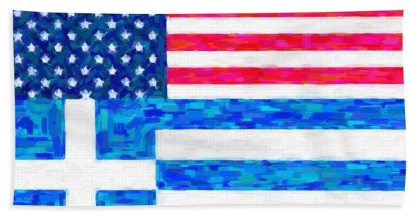 Abstract American Greek Flag Beach Towel