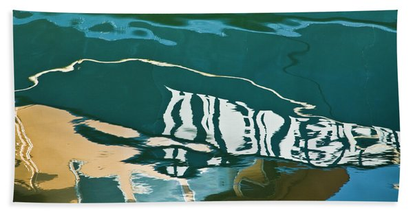 Abstract Boat Reflection Beach Towel