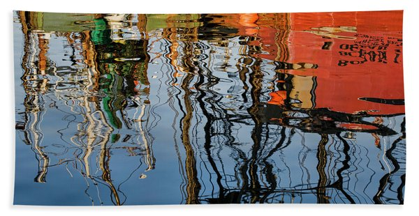 Abstract Boat Reflections Iv Beach Towel