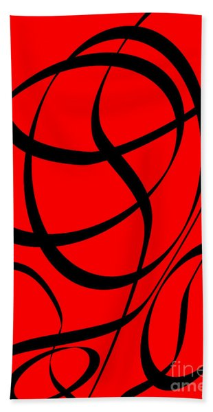 Abstract Design In Red And Black Beach Towel