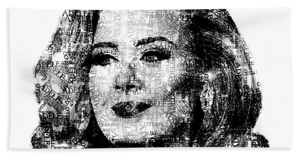 Adele Text Portrait - Typographic Face Poster With The Lyrics For The Song Hello Beach Towel