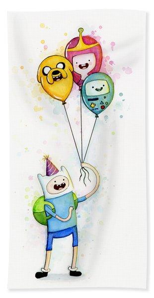 Adventure Time Finn With Birthday Balloons Jake Princess Bubblegum Bmo Beach Towel