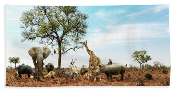 African Safari Animals Meeting Together Around Tree Beach Towel