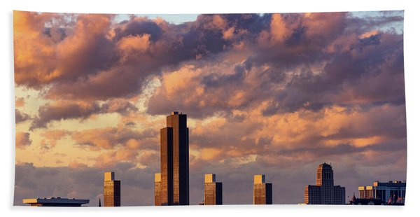 Albany Sunset Skyline Beach Towel